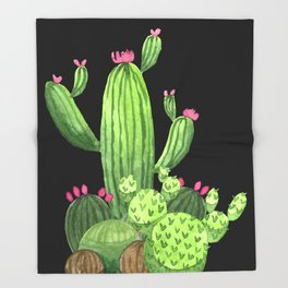 Flowering Cactus Bunch on Black Throw Blanket