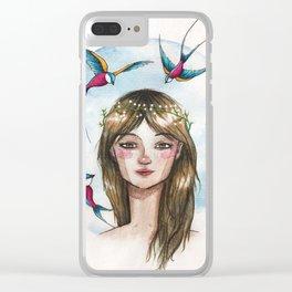 Pájaros en la cabeza Clear iPhone Case
