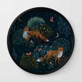 Forest Foxes Wall Clock