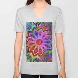 Rainbow Flower Pink Unisex V-Neck