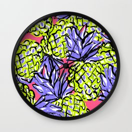 Pineapples on Pink Wall Clock