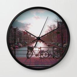 Biking in Amsterdam Wall Clock
