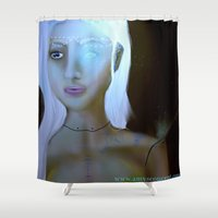 robot Shower Curtains featuring Robot by Amy Bannister