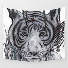 Tiger In The Rain Wall Tapestry