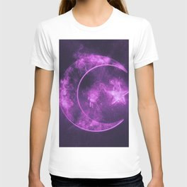Symbol of Islam. Star and crescent moon. Abstract night sky background. T-shirt