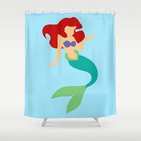ariel Shower Curtains featuring Ariel by Dewdroplet