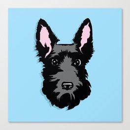 Black Scottie Dog on Blue Background Canvas Print