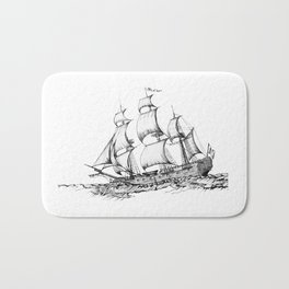 sailing ship . Home decor Graphicdesign Bath Mat