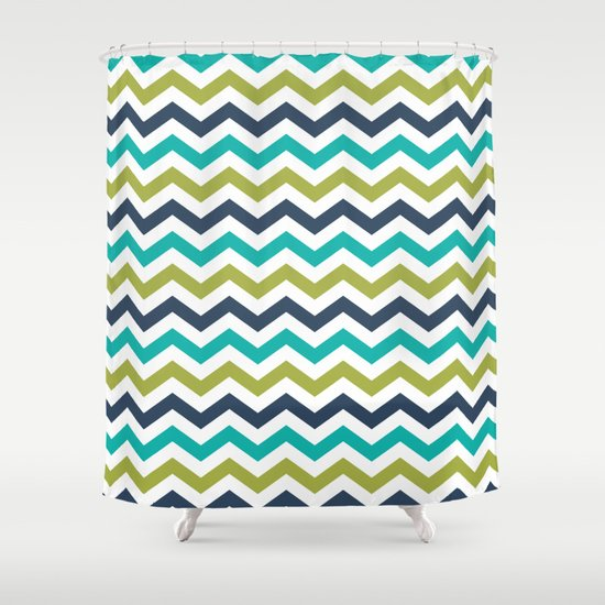 Chevron Navy Lime Turquoise Pattern Shower Curtain By PELA
