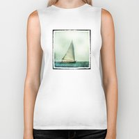 cape cod Biker Tanks featuring sailing cape cod seas by marie grady palcic