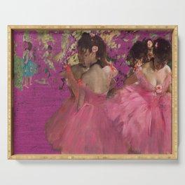degas ballerinas pink Serving Tray