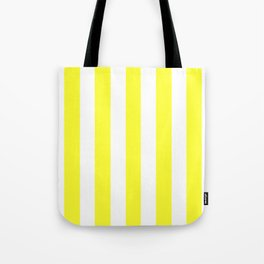 Electric yellow - solid color - white vertical lines pattern Tote Bag