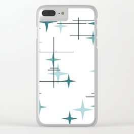 Mid Century Modern Stars (Teal) Clear iPhone Case