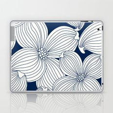 Dogwood Big Linear Floral: Navy Ivory Laptop & iPad Skin