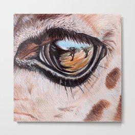 Through Their Eyes - Giraffe Metal Print