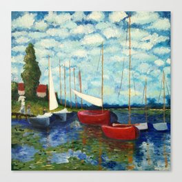 "Artistic Impression of Claude Monet's ""Red Boats at Argenteuil"" Canvas Print"