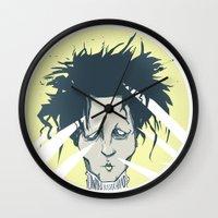 edward scissorhands Wall Clocks featuring edward scissorhands by Berkay Daglar