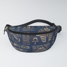 Egyptian hieroglyphs and deities-gold on blue marble Fanny Pack