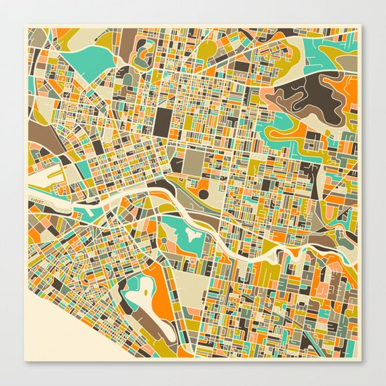 Melbourne Map Canvas Print