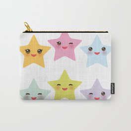 Kawaii stars, face with eyes, pink green blue purple yellow Carry-All Pouch