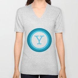 Blue letter Y Unisex V-Neck
