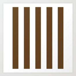 Otter brown - solid color - white vertical lines pattern Art Print