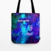 spock Tote Bags featuring SPOCK by Saundra Myles