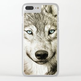 Smokey Sketched Wolf Wildlife Wolves Art Clear iPhone Case