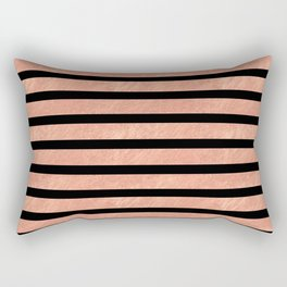 Rose Gold Stripes on Black Rectangular Pillow