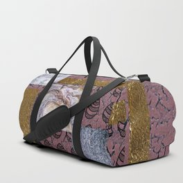 Purple Texture and Doodle . Art Duffle Bag