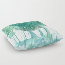 Rainy Woods Trees Forest Watercolor Painting Floor Pillow