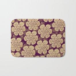 Stylish burgundy faux gold elegant floral Bath Mat