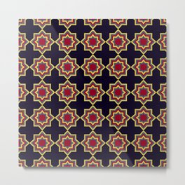 Moroccan Flare Geometric Seamless Pattern Metal Print