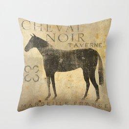 Black Horse Cheval Noir Throw Pillow