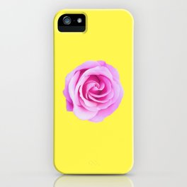 pink rose with yellow background iPhone Case