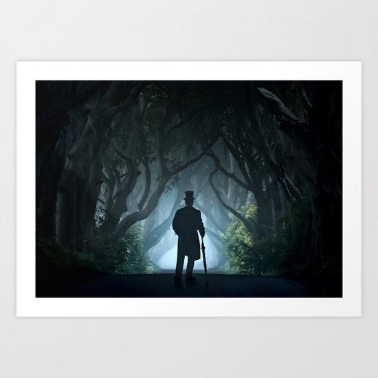 Morning visit in cold Dark Hedges Art Print