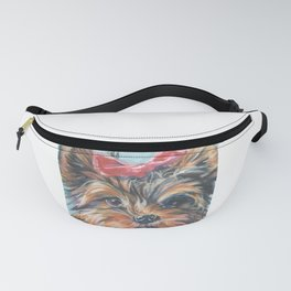 A realistic Yorkshire Terrier Portrait by L.A.Shepard fine art painting Fanny Pack