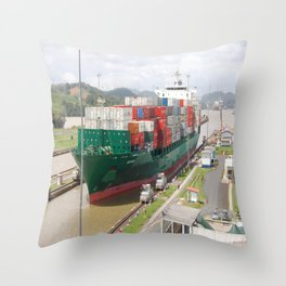 A cargo ship crossing the Miraflores locks at the Panama Canal Throw Pillow