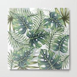 Tropical Leaf Pattern - Green Metal Print