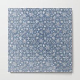 Merry Christmas- Abstract christmas snow star pattern on fresh gray Metal Print