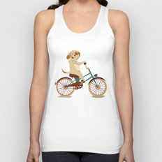 Puppy on the bike Unisex Tank Top
