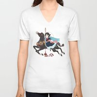 dark side of the moon V-neck T-shirts featuring Carousel: The Dark Side of the Moon by Lettie Bug