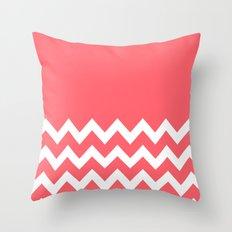 Chevron Colorblock Coral Throw Pillow