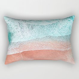 The Break - Turquoise Sea Pastel Pink Beach II Rectangular Pillow