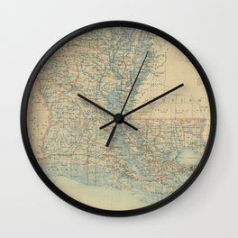 Vintage Map of Louisiana (1896) Wall Clock