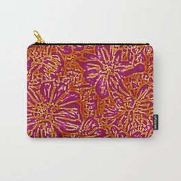 Marigold Lino Cut, Batik Red And Purple Carry-All Pouch