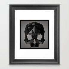 Black skull low poly Framed Art Print