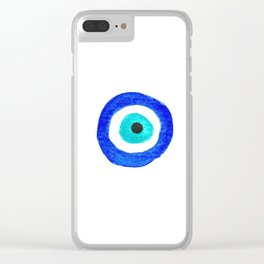 Single Evil Eye Amulet Talisman Ojo Nazar - on white Clear iPhone Case