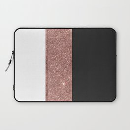 Modern Rose Gold Glitter Black White Color Blocks Laptop Sleeve