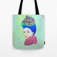 japan Tote Bags featuring Japan by Luna Portnoi